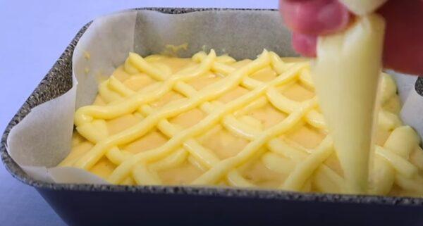 Яблочный пирог с заварным кремом. Вкуснее шарлотки
